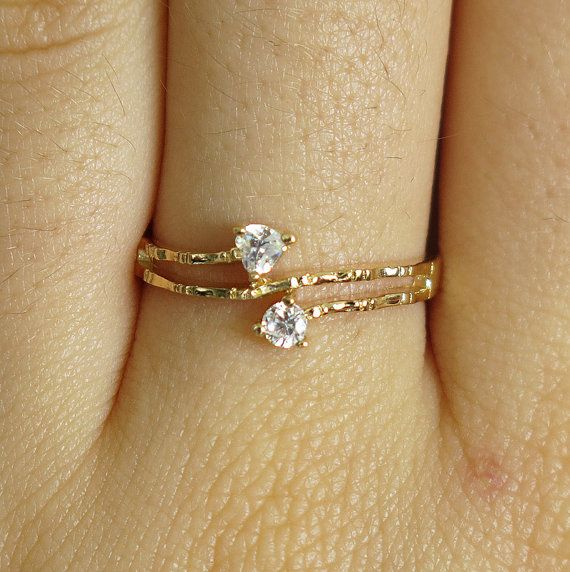 dainty ring, clear gold ring, band ring, made from gold filled with 2 x tiny sparkly clear Cubic Zirconia crystals. The ring is very elegant, feminine,