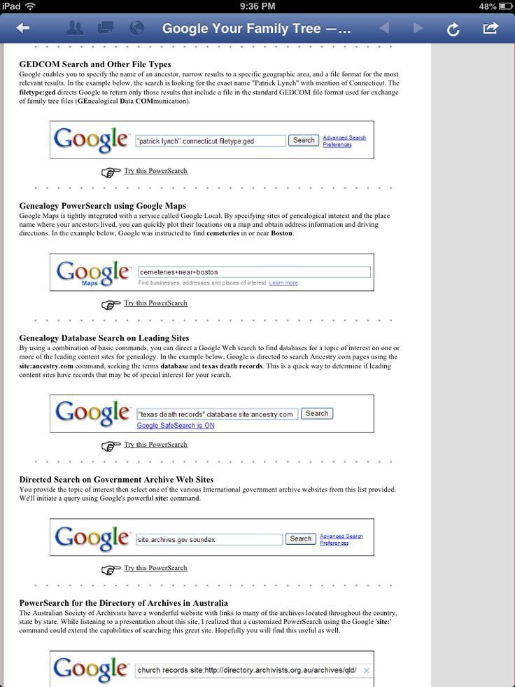 Using Google for genealogy research (1 of 2)   Genealogy & Ancestry