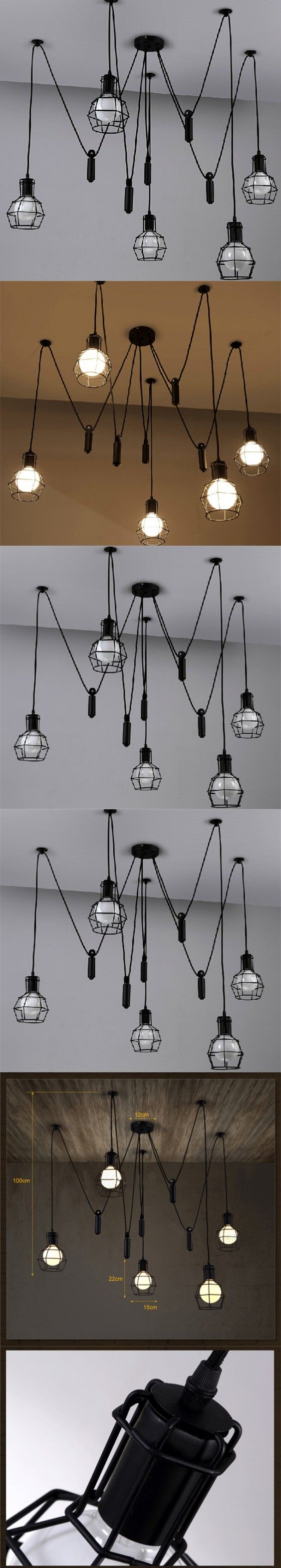 Loft Vintage Industrial Pendant Lights Iron Birdcage Hanging Fixture Lighting Home Decor Suspension Spider Lamp Living Room $264