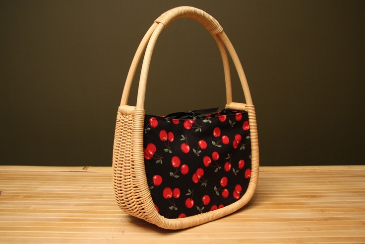 Basket a la Cherries - hot rod tiki handbag purse upcycle. $35.00, via Etsy.