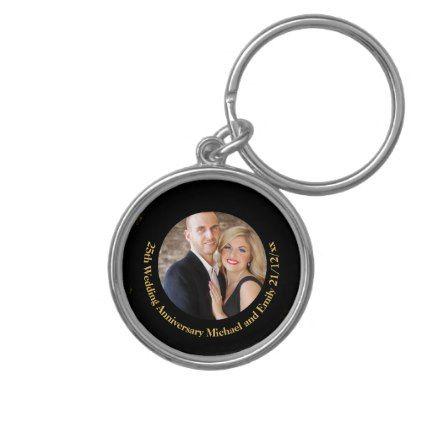PHOTO Wedding Anniversary Black Gold Personalized Keychain - anniversary cyo diy gift idea presents party celebration