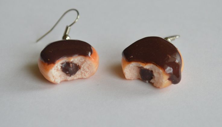 Chocolate donuts polymer clay earrings by ASweetScaleWorld on Etsy
