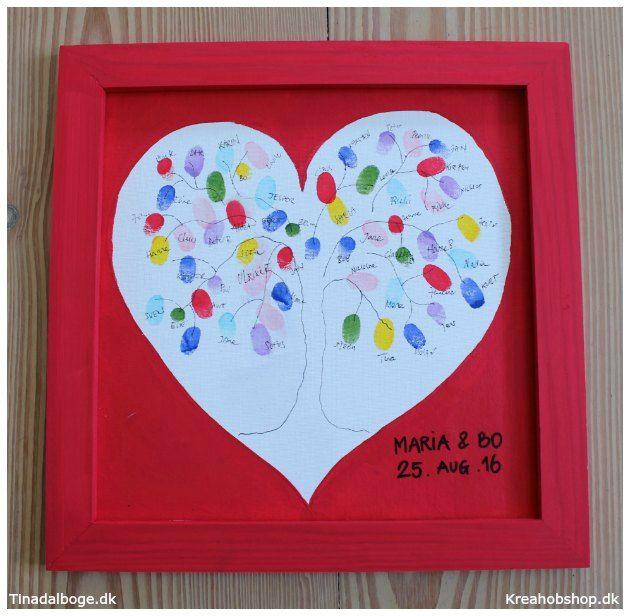Gæsters fingeraftryk med farve fra stempelpuder fra Kreahobshop.dk Lav et gæstetræ som et indslag til en fest - bryllup - barnedåb
