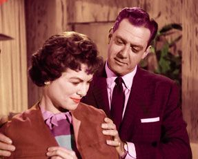 Nice color shot of Raymond Burr and Barbara Hale in Perry Mason