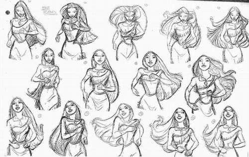therotoscopers: Pocahontas (1995) - Pocahontas hair study - Glen Keane
