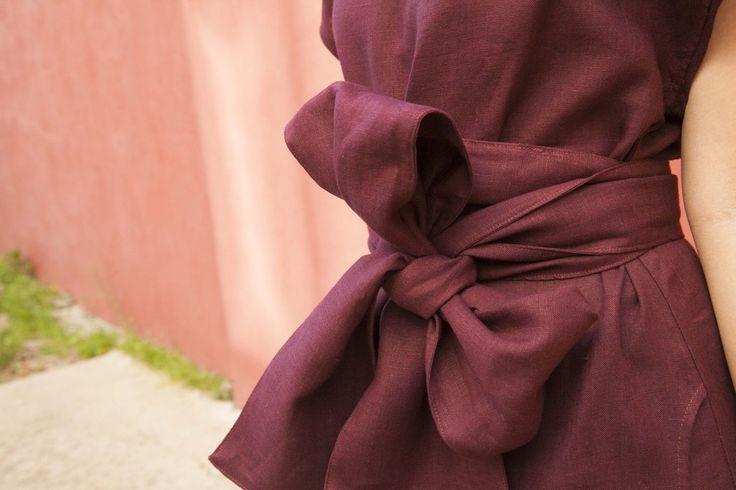 """Платье """"Японское"""" с поясом ОБИ, бордо,100% лён"""