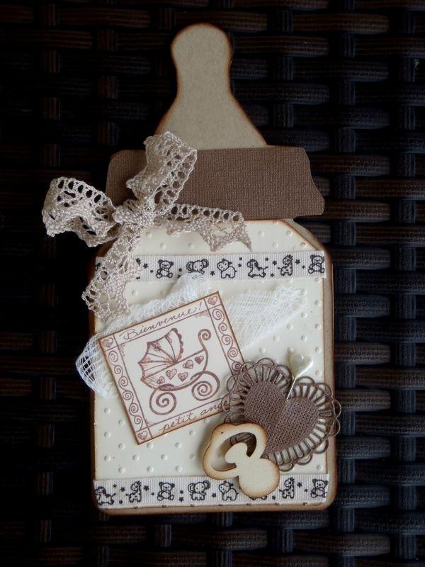 une carte biberon naissance :défi n° 164 chez Cheery Lynn