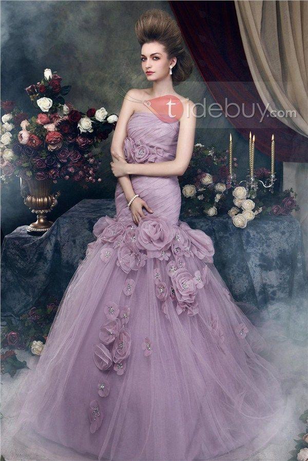 Brilliant Trumpet/Mermaid Strapless Chapel Train Flowers Angerika's Color Wedding Dress