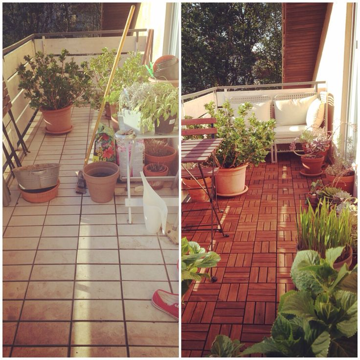makeover my balcony before and after my trip to ikea runnen wooden tiles and enholmen sofa. Black Bedroom Furniture Sets. Home Design Ideas