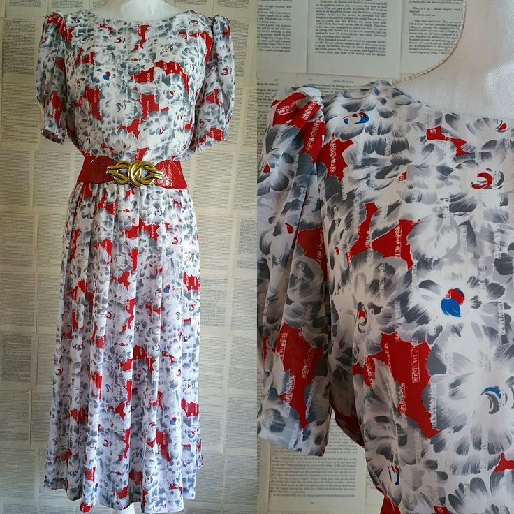 Vintage 1980s White & Red Dress - Size 14 by MyVintageSundays on Etsy