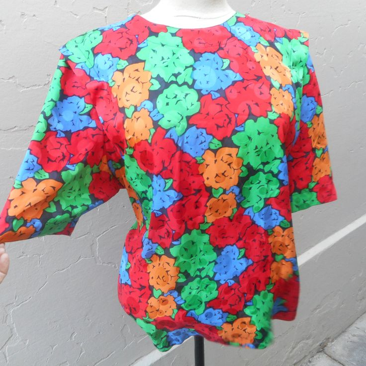 1980s pure silk top by recycology on Etsy