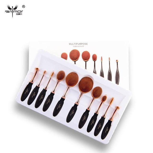 5 /10 PCS Per Set Tooth Brush Shape Oval Makeup Brush Set MULTIPURPOSE Makeup Brushes Professional Foundation Powder Brush Kits