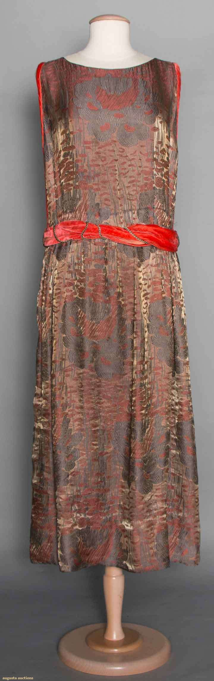 Pewter lame & coral silk brocade evening dress. For upcoming vintage and antique clothing auction. #1920s #vintagefashion