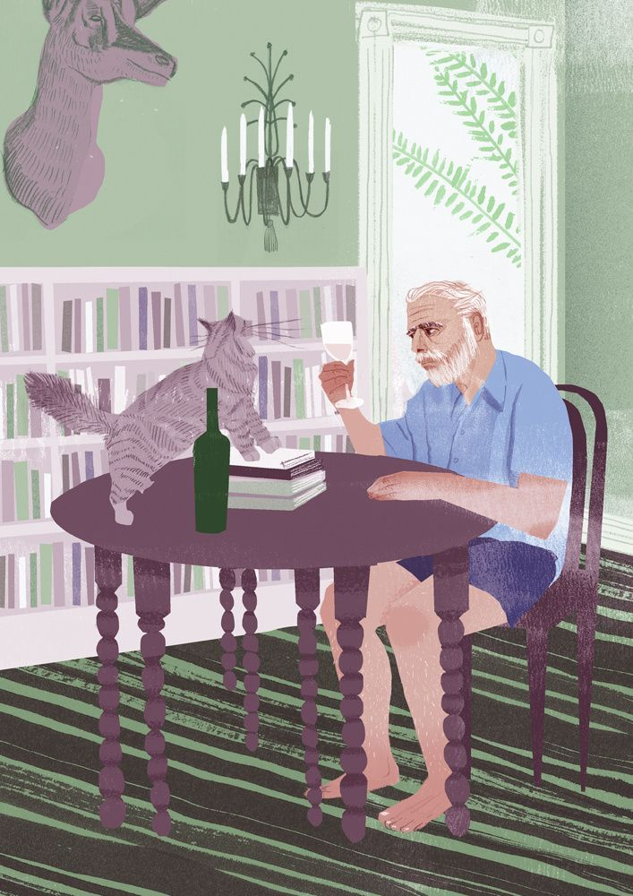 Sam Kalda man and cat illustration