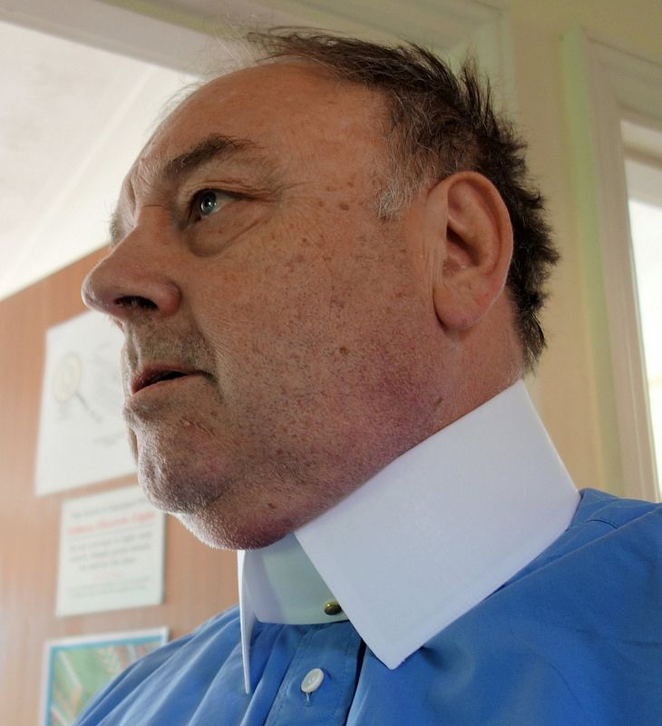 blue shirt, white collar   by rabinal