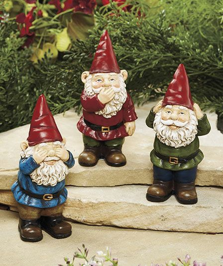 Set of 3 See, Speak, Hear Gnomes The Lakeside Collection