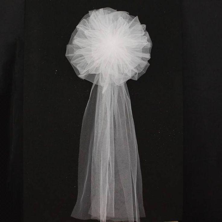 White Tulle Wedding Pew Bows