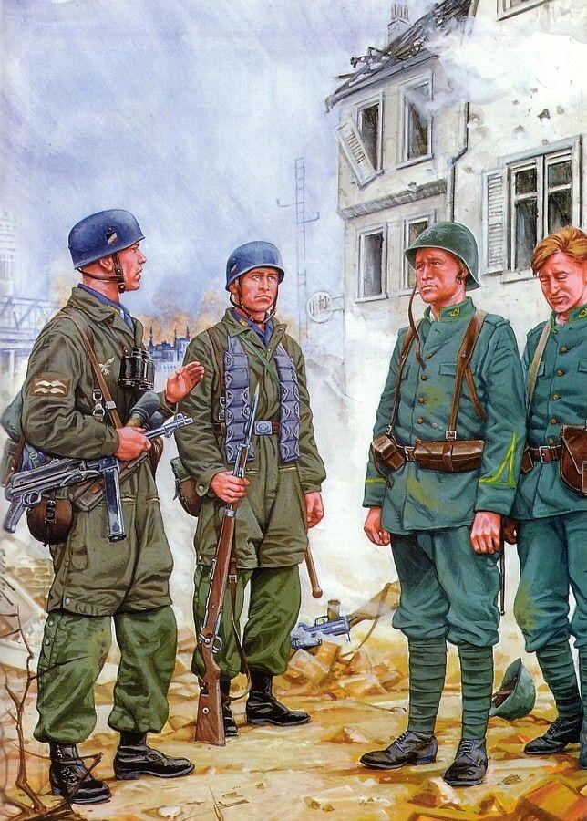 LUFTWAFFE - Fallshirmjaegers interrogano prigionieri olandesi, 1940