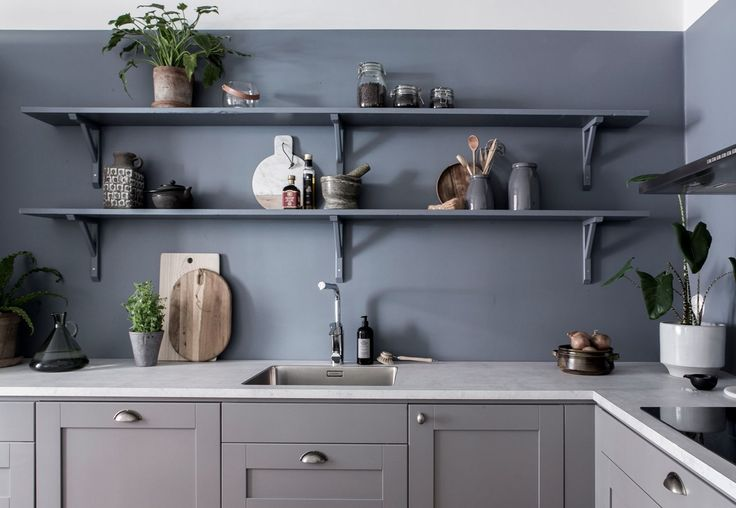 Blue kitchen wall - via Coco Lapine Design blog