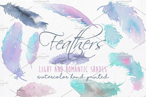 Watercolor Feathers Clip Art - Elegant and romantic feathers painted in original watercolor by MARAQUELA.