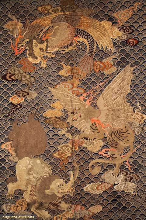 Augusta Auctions: embroidered meiji hanging, japan, mid 19th c  #antique #textile #japan