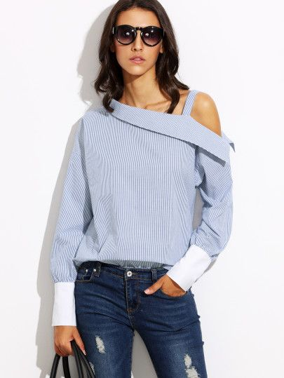 Blue Striped Fold Over Asymmetric Shoulder Contrast Cuff Blouse www.shein.com