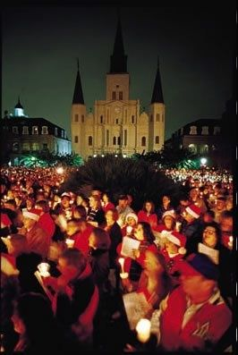 Caroling in Jackson Square, part of Christmas New Orleans Style.
