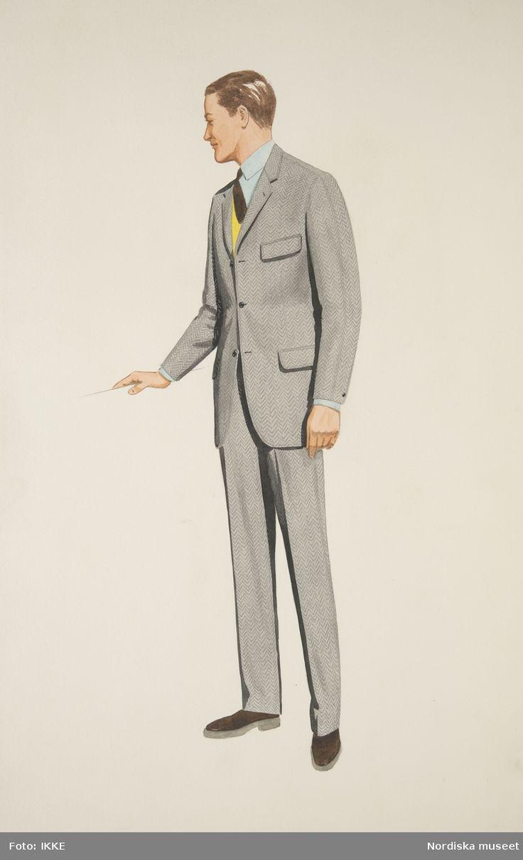Modeteckning av man i grå kostym, brun slips och gul pullover. Nordiska Kompaniets herrskrädderi, ca 1940-1955