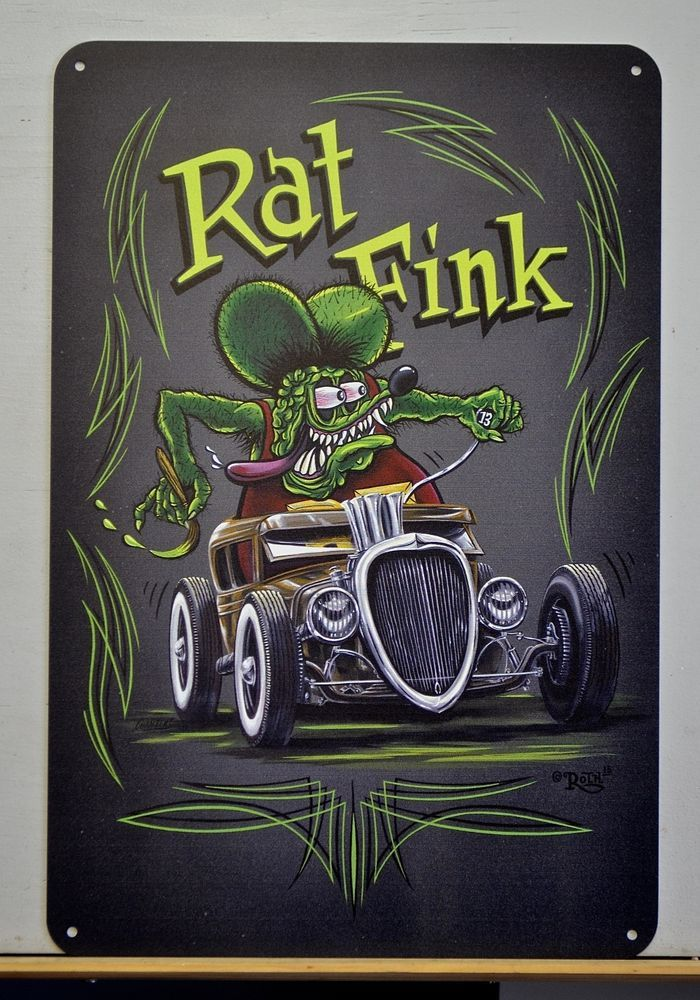 "Rat Fink Rat Rod, Ed ""Big Daddy Roth"" hot rod art, garage art, Pinstriping art #LowbrowArt"