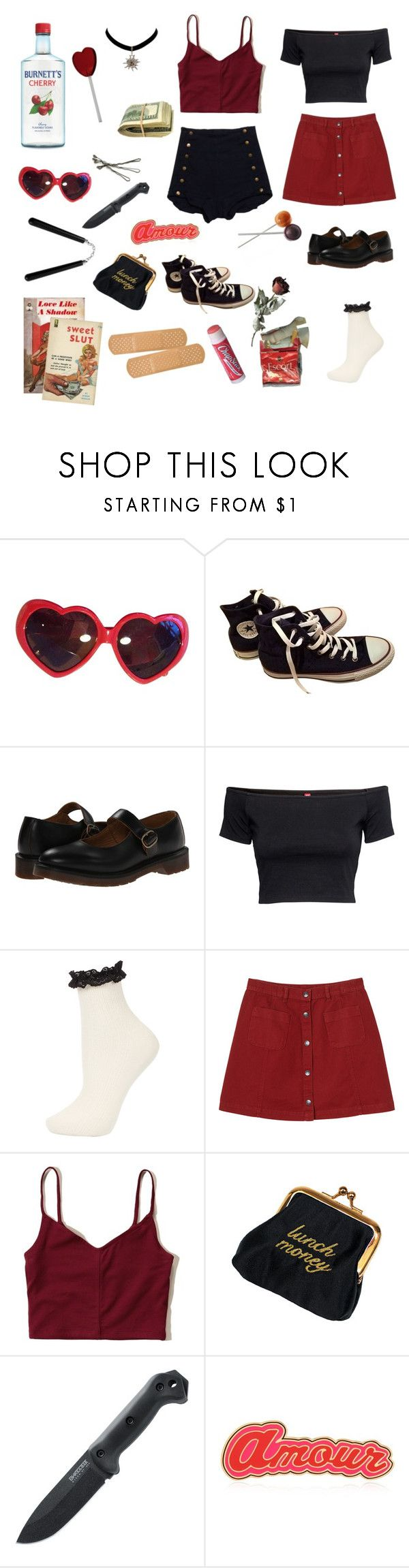 """""""Hell's Kitchen Nymphet"""" by artybee ❤ liked on Polyvore featuring Moschino, Converse, Dr. Martens, H&M, Topshop, Monki, Hollister Co., Current/Elliott, Chapstick and BOBBY"""