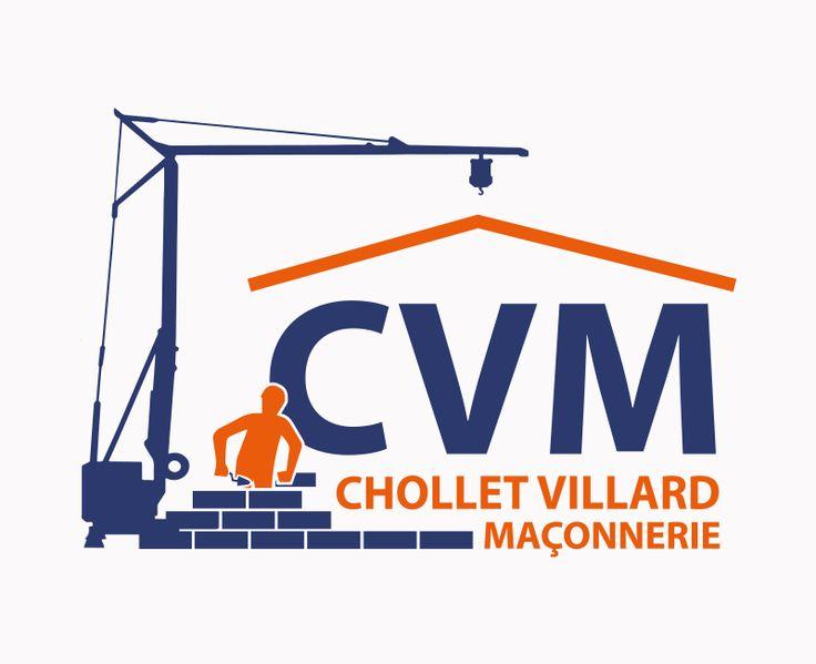 Création du logo de l'entreprise de maçonnerie CVM (Chollet Villard Maçonnerie).