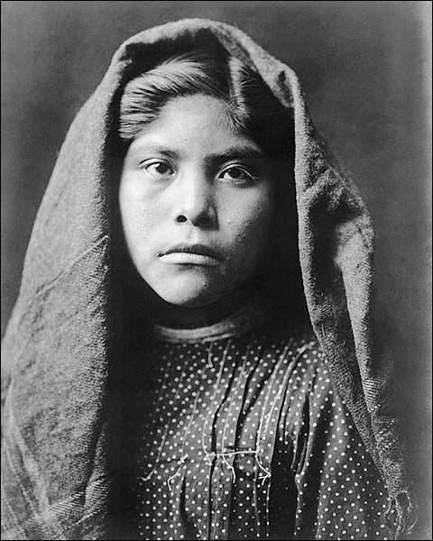 Edward S. Curtis portrait photo of a Pima Indian girl, Czele Marie.