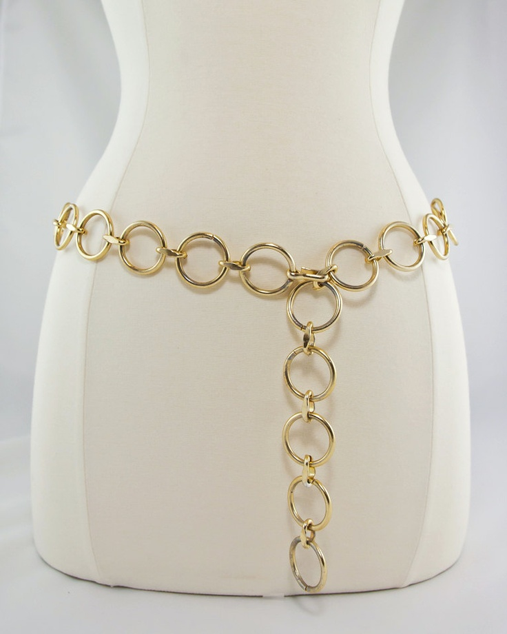 1960s Gold Circle Chain Belt. $15.00, via Etsy.