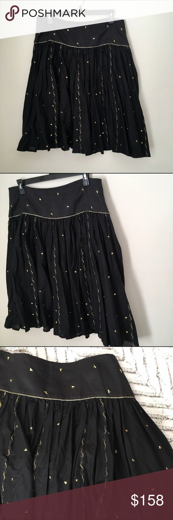 NWT French Connection Black & Gold Skirt French Connection black cotton full above-the-knee skirt with gold sequins and embroidery. Brand new with Tags! Size 8. Includes extra sequins in case any fall off. French Connection Skirts A-Line or Full