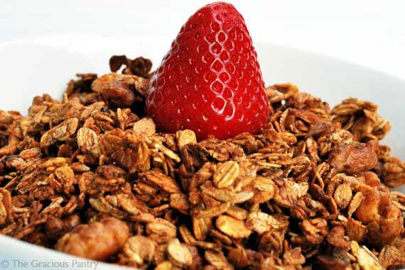 This Clean Eating Granola is sure to please. Easy to make with simple ingredients, this will make everyone happy at the breakfast table! From TheGraciousPantry.com.