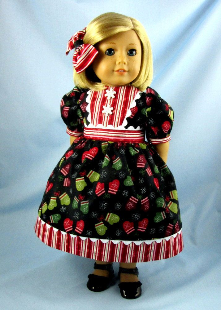SALE! - Dress for 18 Inch Doll - Doll Clothes 18 Inch -  Fits American Girl Doll - Winter Doll Dress - Mittens and Stripes by SewMyGoodnessShop on Etsy https://www.etsy.com/listing/554557982/sale-dress-for-18-inch-doll-doll-clothes