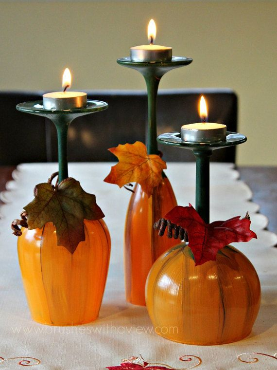 Herbst Tischdekoration Kürbis Weingläser – Thanksgiving Weingläser – Kerzenhalter – 3er Set handbemalte Weingläser