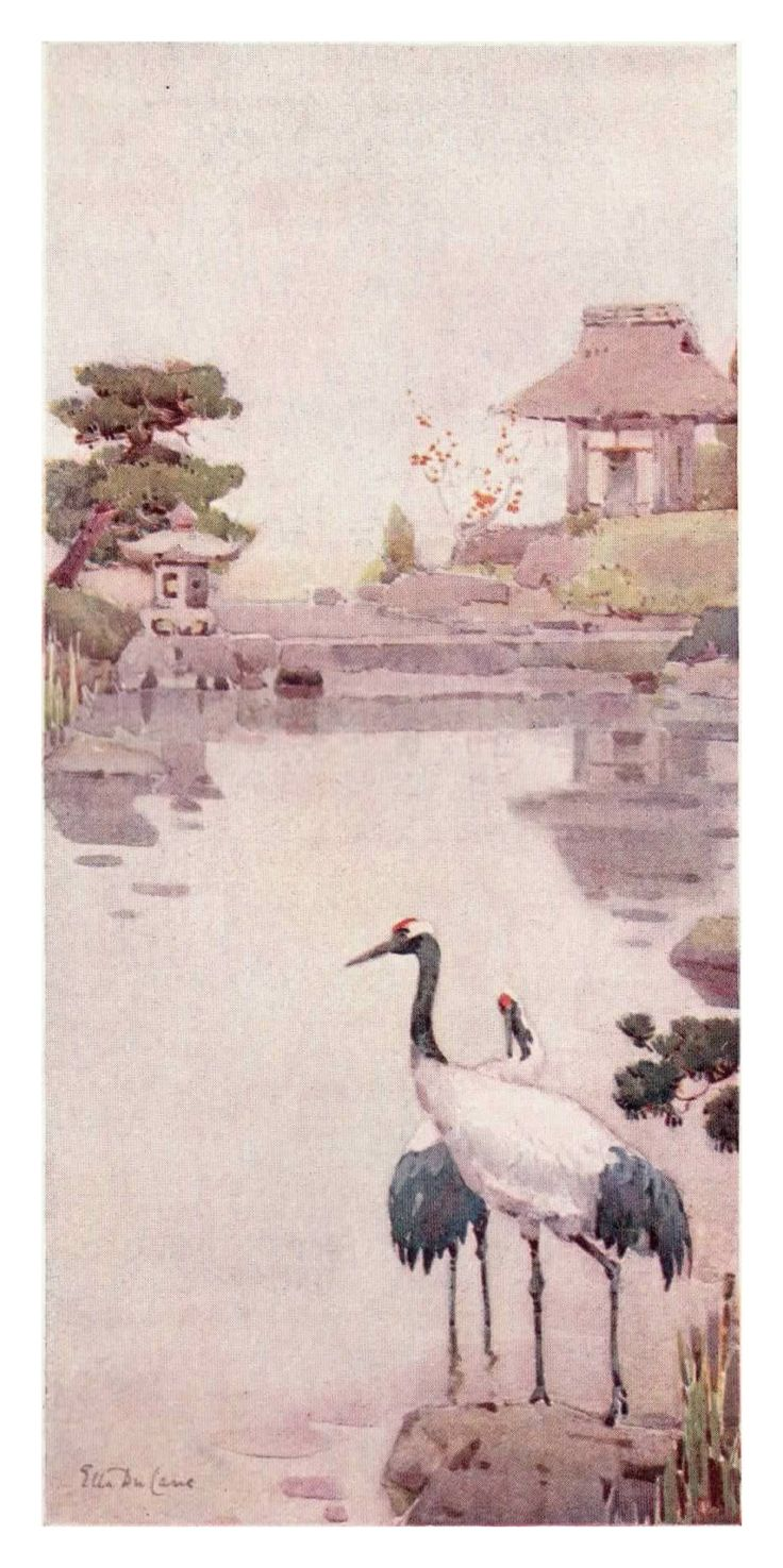 """""""The Storks"""" by Ella Du Cane is one of my personal favourite prints from """"The Flowers and Gardens of Japan"""".  It is a very peaceful image, and for me it invokes thoughts of a lazy day by a lake, watching the wildlife as they go about their business."""
