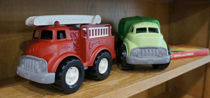 Green toys Fire truck and recycling truck