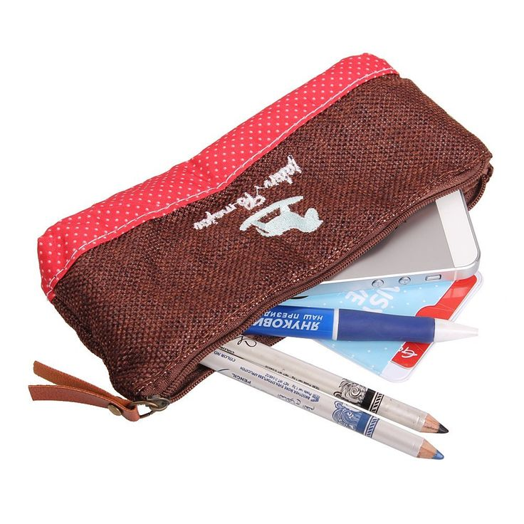 NSSTAR Creative Polka Dot Pattern Cotton And Linen Fabrics Pencil Case Bag Holder Pouch Carrier Cosmetic Makeup Pouch Card Pocket With Cups or Tower or Horse Design  http://amzn.to/1yUBjEK  if you see it,please help share for others