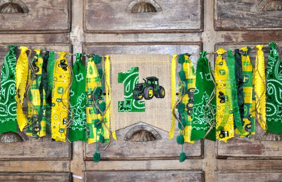 John Deere fabric first birthday highchair rag banner, green & yellow tractor, cake smash photo prop, I am 1 one highchair rag garland