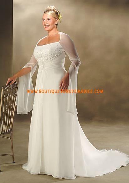 Robe de mariée grande taille avec manches