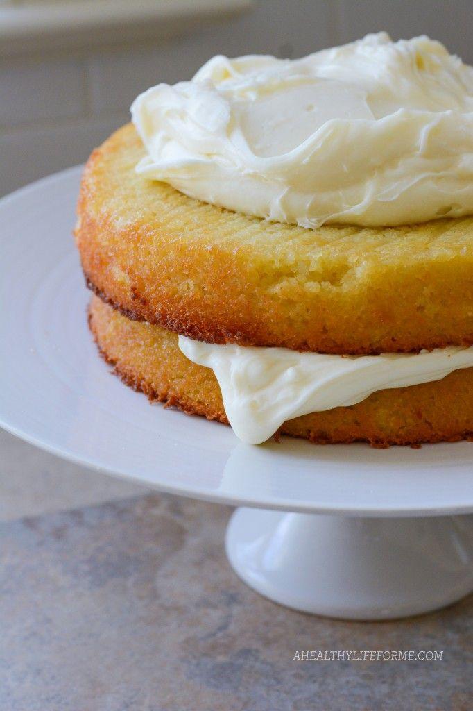 Gluten Free Almond Coconut Cake. A moist delicious cake perfect for spring. http://ahealthylifeforme.com/2014/04/14/gluten-free-almond-coconut-cake/ #GlutenFree #Cake #Dessert #CreamCheeseFrosting #SpringRecipe