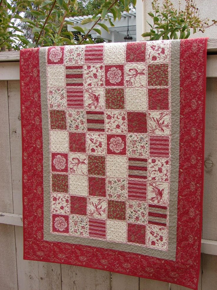 31 best french general images on pinterest quilting ideas sewing christmas lap quilt throw blanket or wall hanging rouenneries deux by french general for moda red and cream fandeluxe Image collections