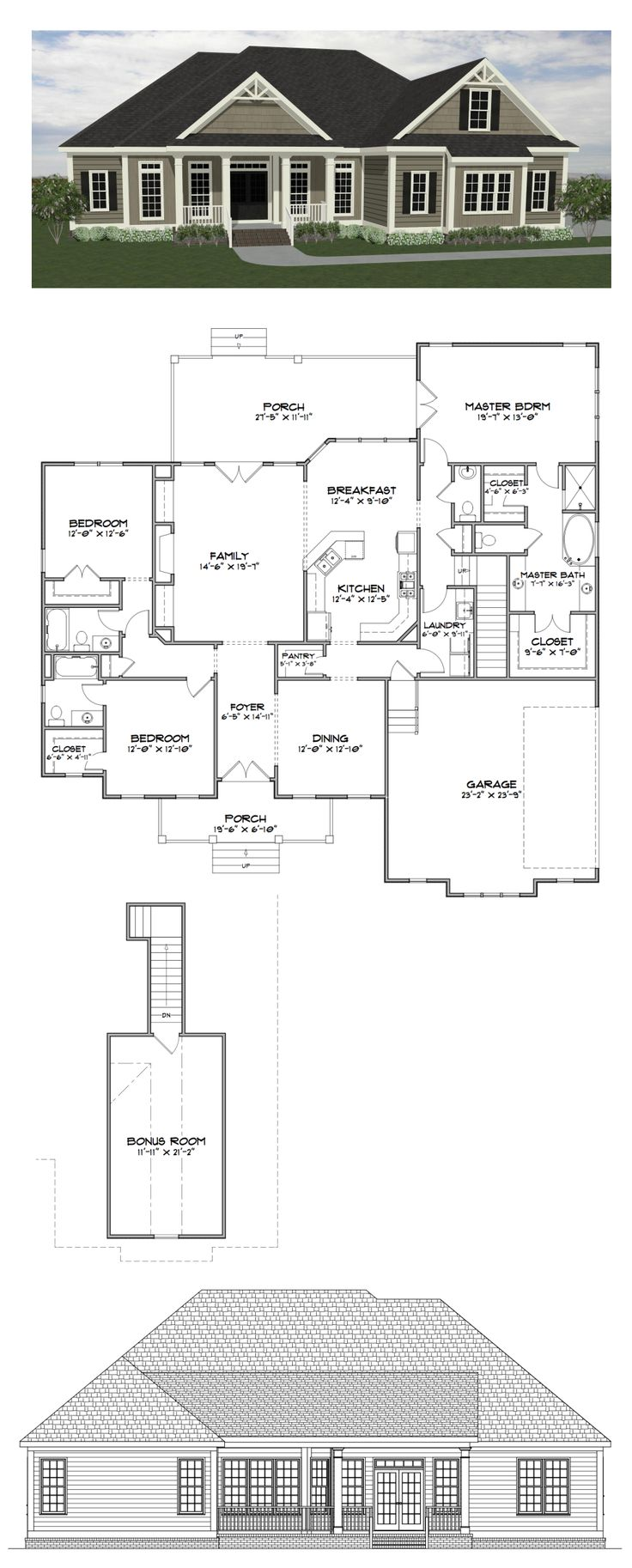 Plan Sc2282: ($770) 3 Bedroom 35 Bath Home With 2282 Heated