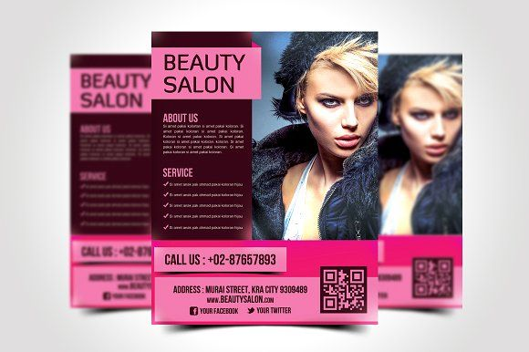 Beauty Salon Flyer Template by meisuseno on @creativemarket