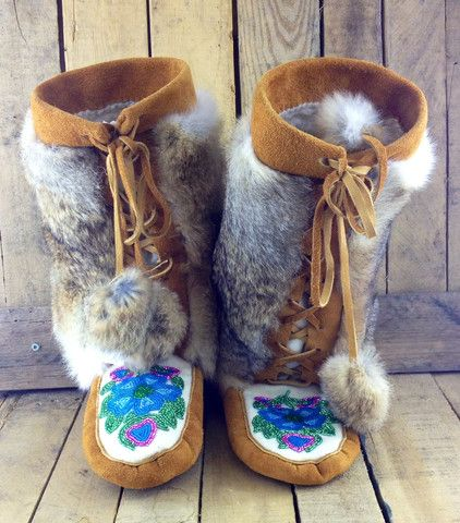 Blue and Pink Flowers Beaded on Factory Tanned Moose Hide Mukluks with Rabbit Fur