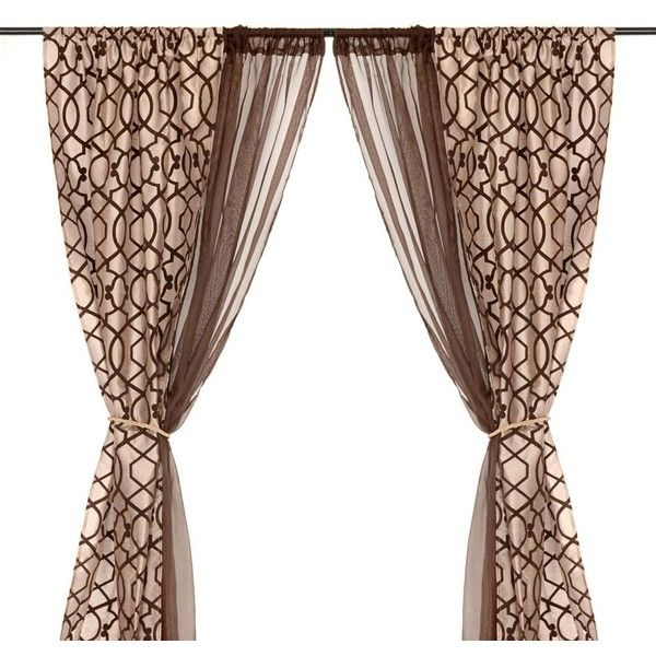 Charlize Taupe 6-piece Curtain Panel Set (1.310 RUB) liked on ...
