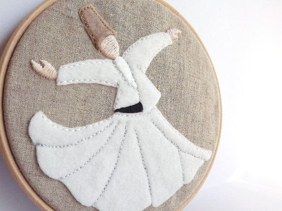 Embroidery Hoop Art Whirling Dervish Semazen by Lylaaccessories, $30.00