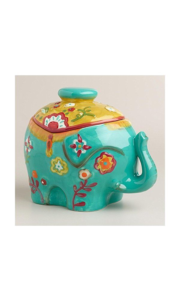 Colorful Ceramic Elephant Cookie Jar Storage Container Decor From Https